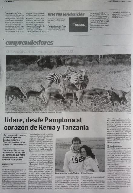 Udare en Diario de Navarra 13/04/2014. Por Udare
