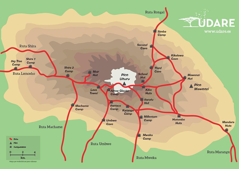 Rutas Kilimanjaro. Por Udare
