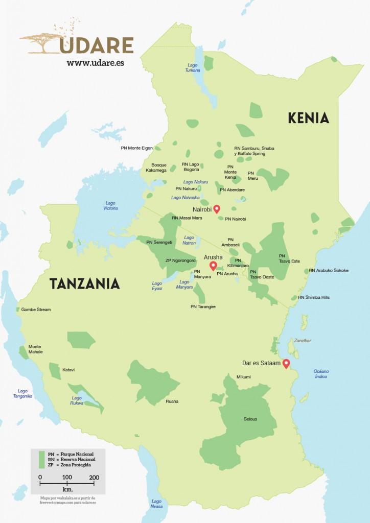 Mapa Kenia y Tanzania. Por Udare