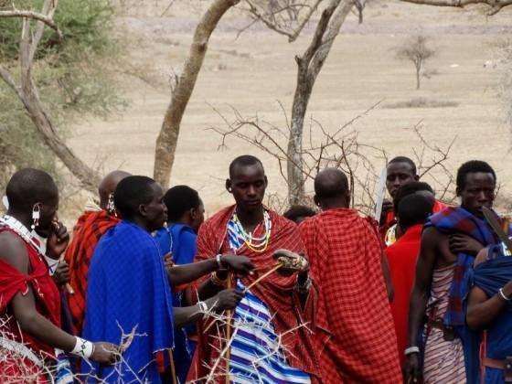 Masais compartiendo cordero en una celebración. Por Udare