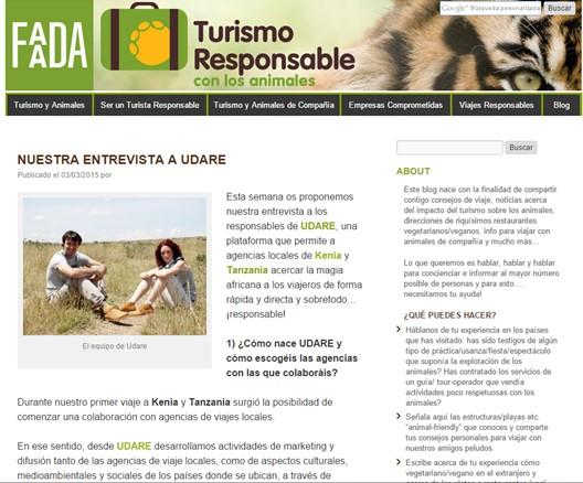 Udare en Turismo Responsable. Por Udare