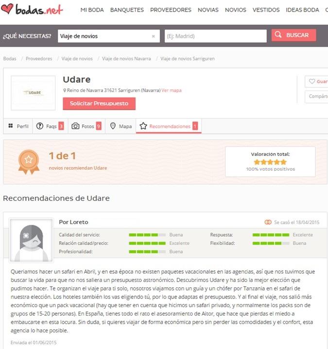 Opinion Loreto en Bodas.net