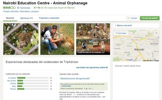 Orfanato de Animales de Nairobi. Por Tripadvisor