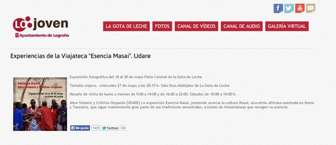 Tertulia Esencia Masai. Ayuntamiento de Logroño