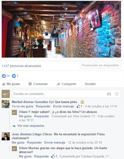 Comentarios en Facebook. Por Udare