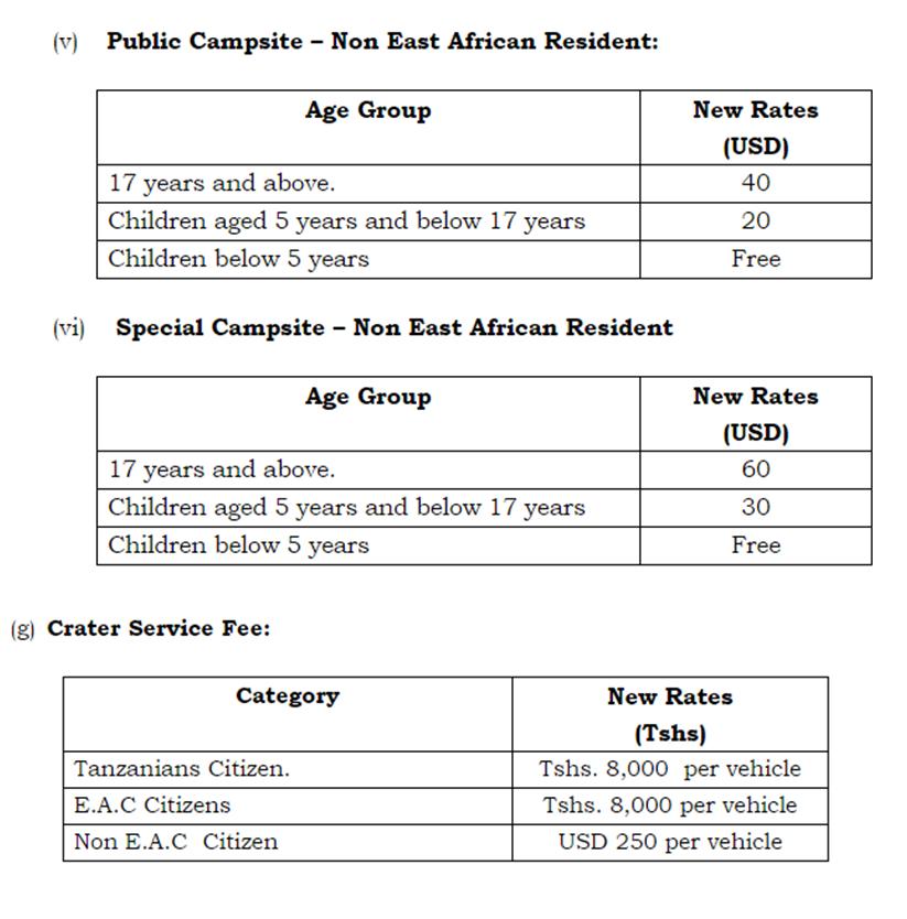 Nuevos precios Ngorongoro 2016 (II). Gobierno de Tanzania