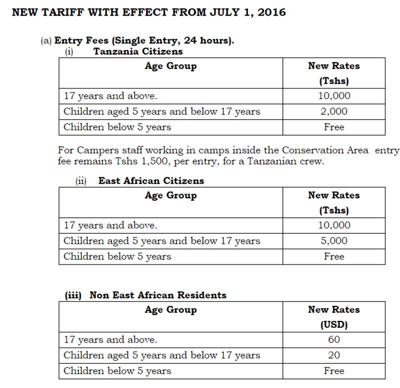 Nuevos precios Ngorongoro 2016. Gobierno de Tanzania