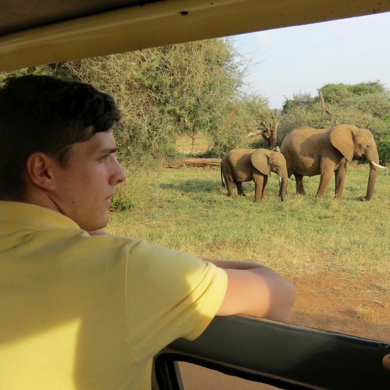 Disfrutando de la paz que transmiten los elefantes. Por Charo