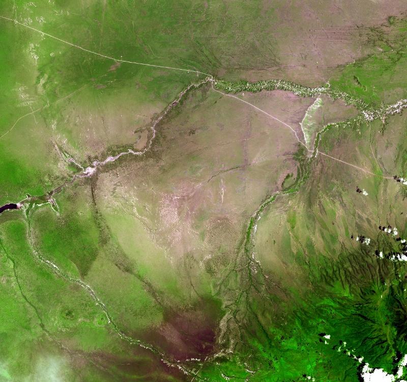 Garganta de Olduvai vista desde el espacio