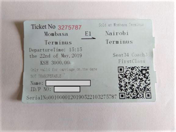 Ticket viaje tren Mombasa en primera clase Por Udare