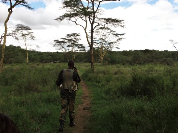 Ranger acompañante durante el paseo a pie en el Parque Nacional de Nairobi. Por Udare