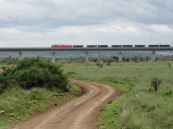 Vía férrea que atraviesa el Parque Nacional de Nairobi. Por Udare