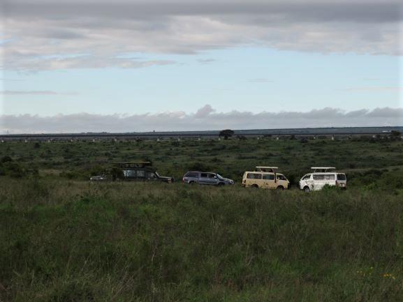 Varios coches de safari en el Parque Nacional de Nairobi. Por Udare