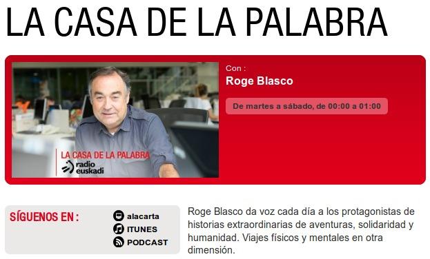 Roge Blasco en La Casa de la Palabra. Por Radio Euskadi