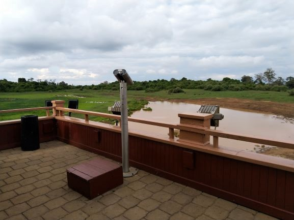 Terraza exterior con vistas a la charca en hotel The Ark. Por Udare