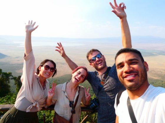 Alba, Nuria, Guifré y Abel en Ngorongoro. Por Alba